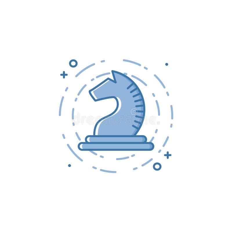 Dirigez l'illustration d'affaires de l'icône bleue de chevalier ou de cheval d'échecs dans le style linéaire illustration libre de droits