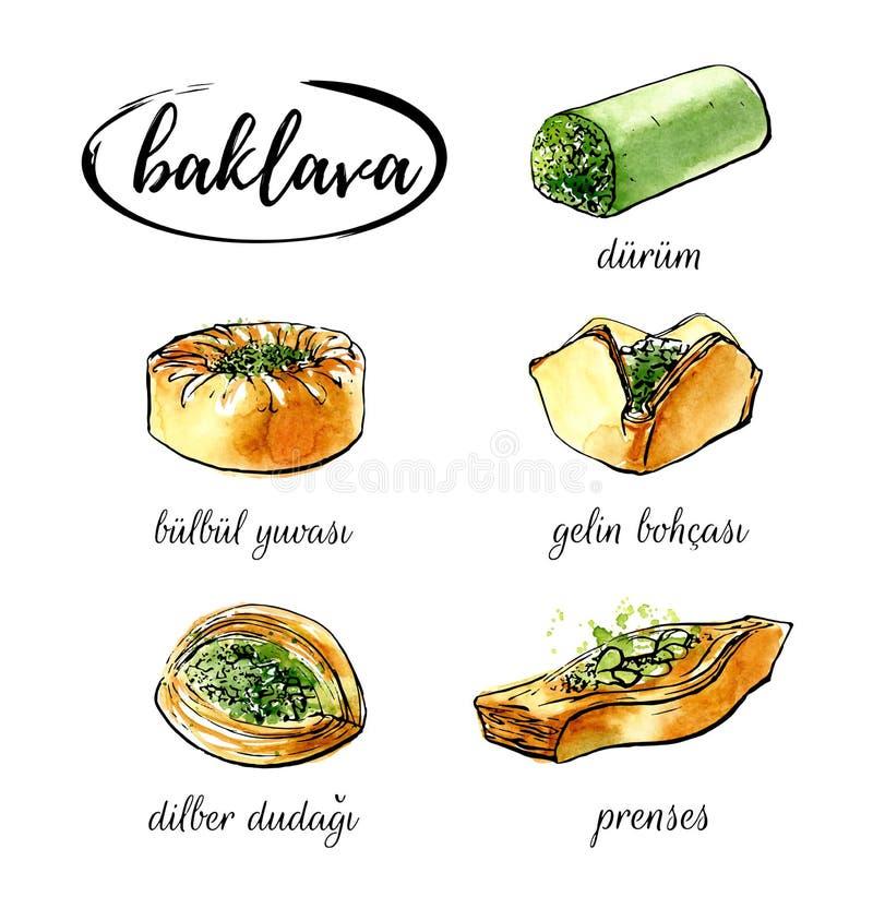 Dirigez l'illustration d'aquarelle avec la baklava turque différente de dessert illustration stock