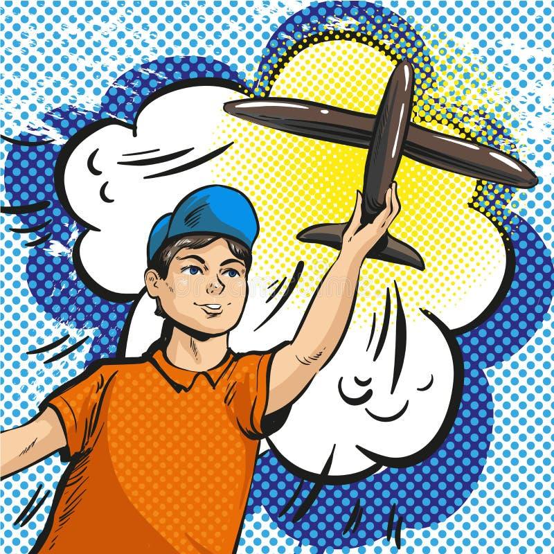 Dirigez l'illustration d'art de bruit de l'avion de lancement de rc de jeune garçon illustration libre de droits