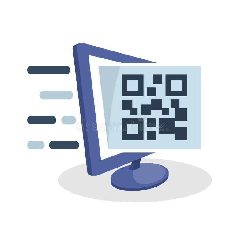 Dirigez l'illustration d'icône avec le concept numérique de media au sujet du générateur de code en ligne de QR illustration libre de droits