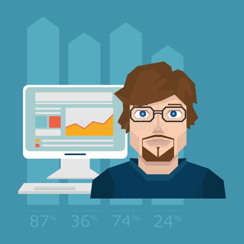 Dirigez l'illustration d'information d'analytics de Web et de statistique de site Web de développement illustration libre de droits