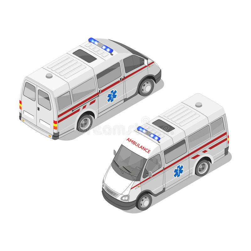 Dirigez l'illustration 3d isométrique réaliste de la voiture d'ambulance illustration libre de droits