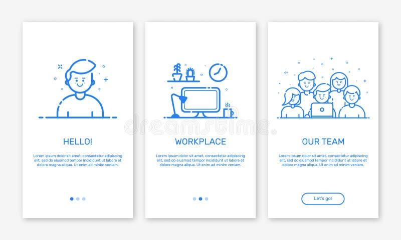 Dirigez l'illustration d'onboarding les écrans d'APP et l'équipe de créateurs de concept de Web pour les apps mobiles dans la lig illustration stock