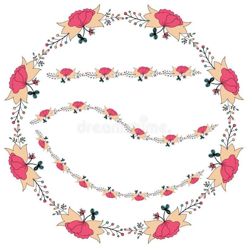 Dirigez l'illustration d'un cadre floral sous forme de cercle fait d'éléments floraux, feuilles, bourgeons illustration libre de droits