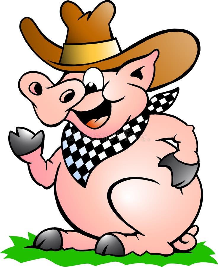 Dirigez l'illustration d'un chef de porc qui souhaite la bienvenue illustration stock