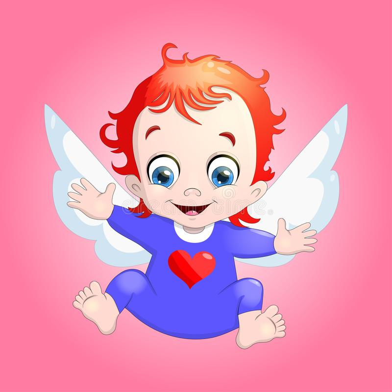 Dirigez l'illustration d'un cupidon de bébé avec un coeur cartoon illustration libre de droits