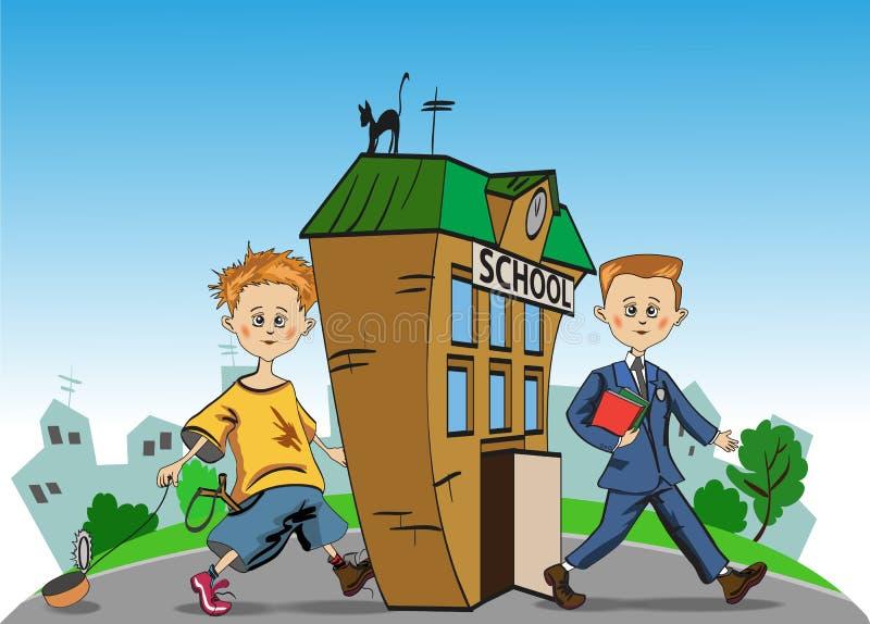 Dirigez l'illustration d'un garçon qui va à l'école illustration de vecteur