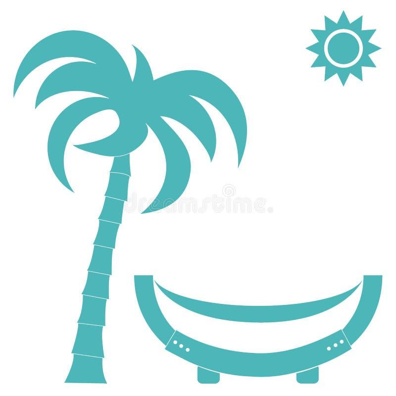 Dirigez l'illustration d'un hamac sous un palmier et un soleil illustration de vecteur