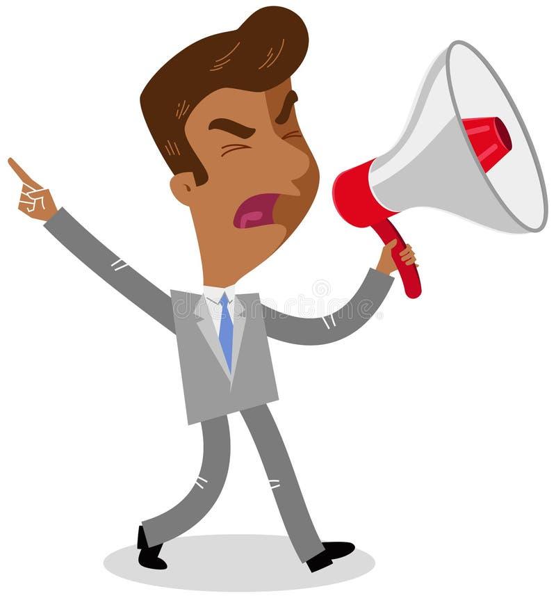 Dirigez l'illustration d'un homme d'affaires asiatique fâché de bande dessinée entrant et hurlant dans un mégaphone illustration stock