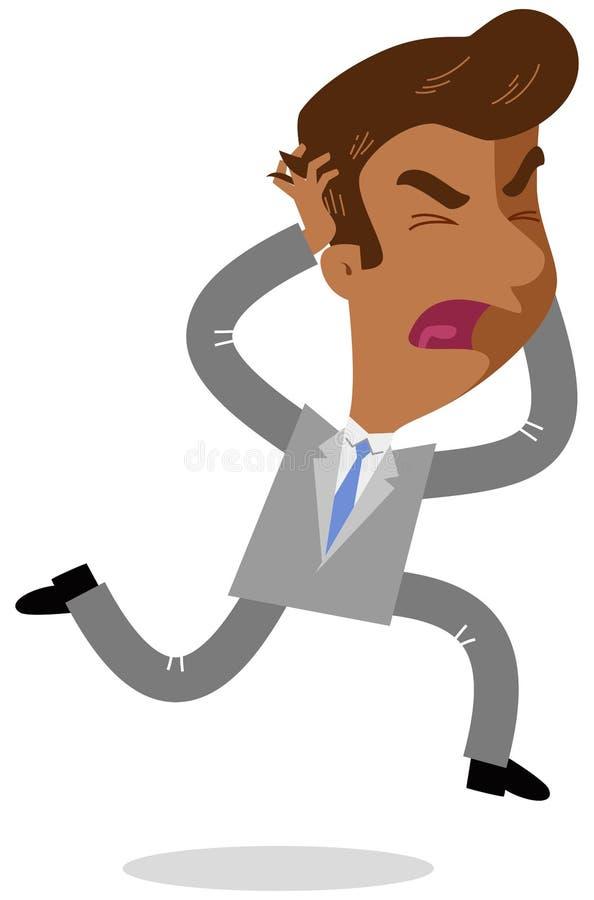 Dirigez l'illustration d'un homme d'affaires asiatique furieux de bande dessinée courant et déchirant ses cheveux criant illustration stock