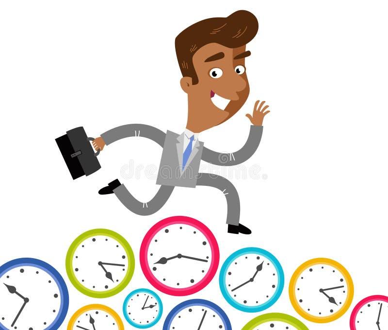 Dirigez l'illustration d'un homme d'affaires asiatique se dépêchant de bande dessinée courant sur des horloges illustration stock