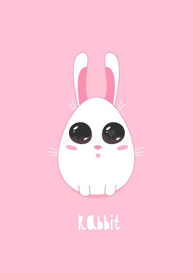 Dirigez l'illustration d'un lapin mignon sur un fond rose illustration de vecteur