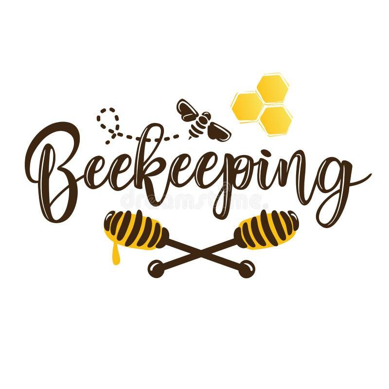 Dirigez l'illustration d'un lettrage de ` de l'apiculture de ` illustration de vecteur