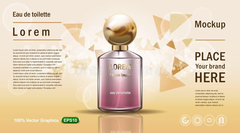 Dirigez l'illustration d'un parfum réaliste de style dans une bouteille en verre sur un fond jaune avec des particules de triangl illustration de vecteur
