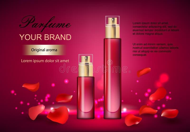Dirigez l'illustration d'un parfum réaliste de style dans une bouteille en verre sur un fond rouge avec des pétales de roses gran illustration libre de droits