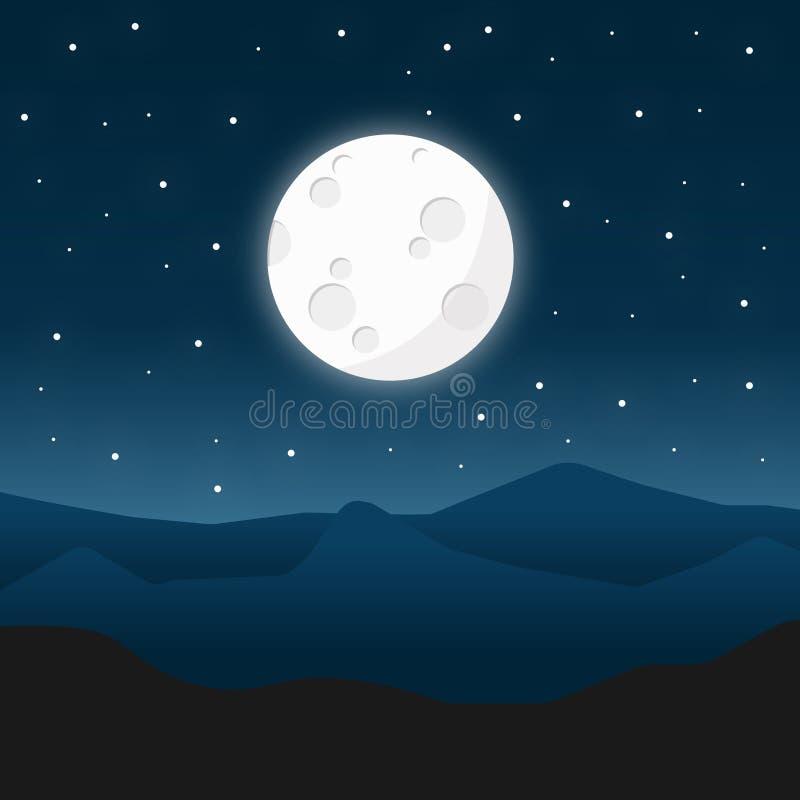 Dirigez l'illustration d'un paysage panoramique de montagne de nuit illustration stock