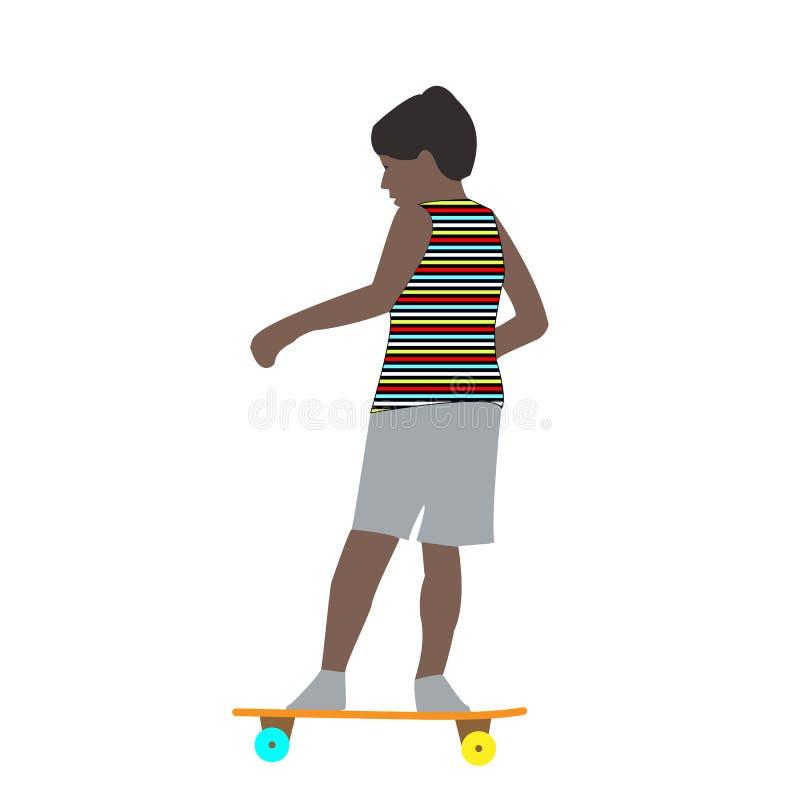 Dirigez l'illustration d'un petit garçon dans des tours rapides faisants de la planche à roulettes d'un T-shirt rayé pendant l'ét illustration stock