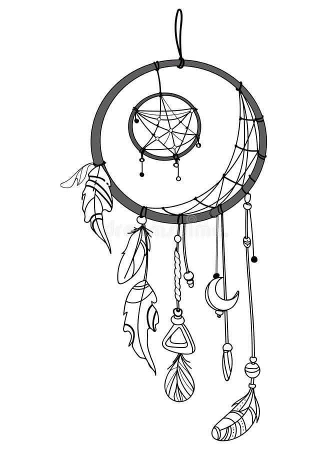 Dirigez l'illustration d'un receveur rêveur avec des plumes Totem indien avec des plumes Décoration hippie Rebecca 36 illustration libre de droits