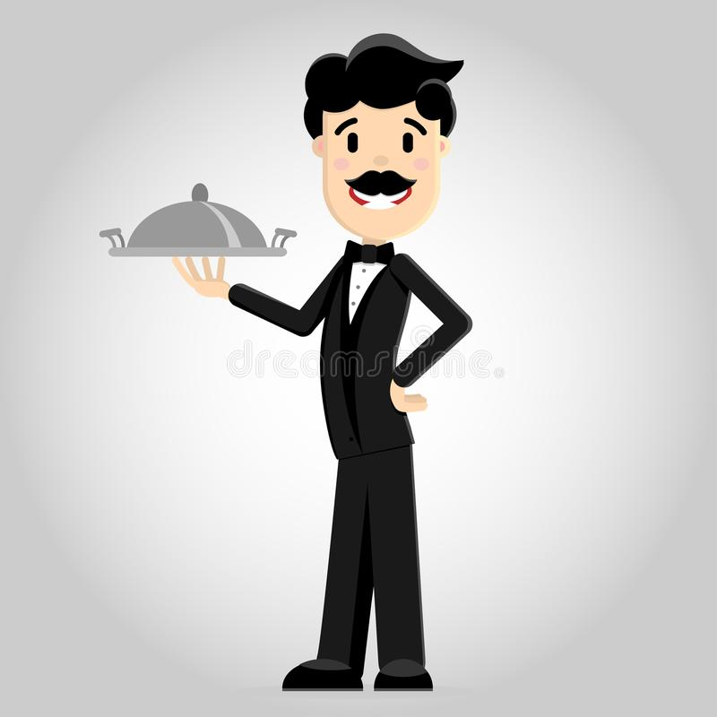 Dirigez l'illustration d'un serveur dans un costume noir avec un plateau illustration stock