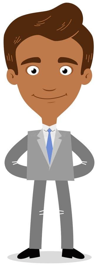 Dirigez l'illustration d'un sourire asiatique sûr d'homme d'affaires de bande dessinée amical avec des bras derrière le sien de r illustration stock