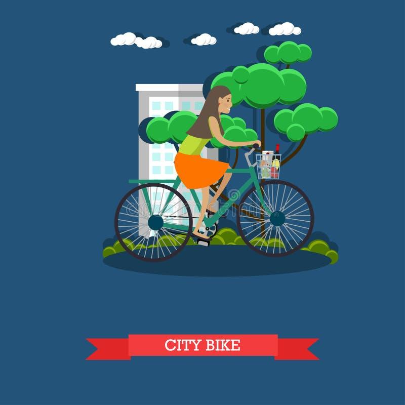 Download Dirigez L'illustration D'un Vélo De Ville D'équitation De Fille, Style Plat Illustration de Vecteur - Illustration du stationnement, cordon: 87705828