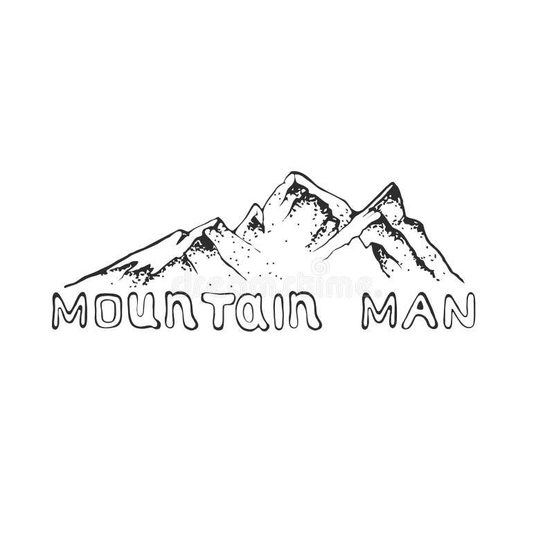Dirigez l'illustration d'une crête de montagne avec la forêt de pin, gravant le style, tiré par la main illustration libre de droits