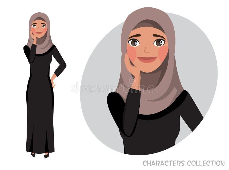 Dirigez l'illustration d'une fille Arabe timide mignonne illustration libre de droits