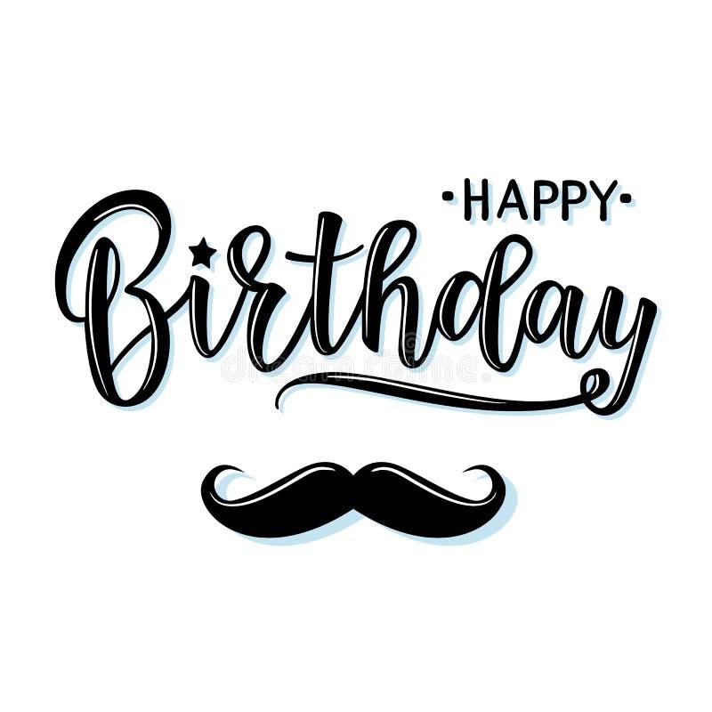 Dirigez l'illustration d'une invitation de joyeux anniversaire avec la moustache illustration stock