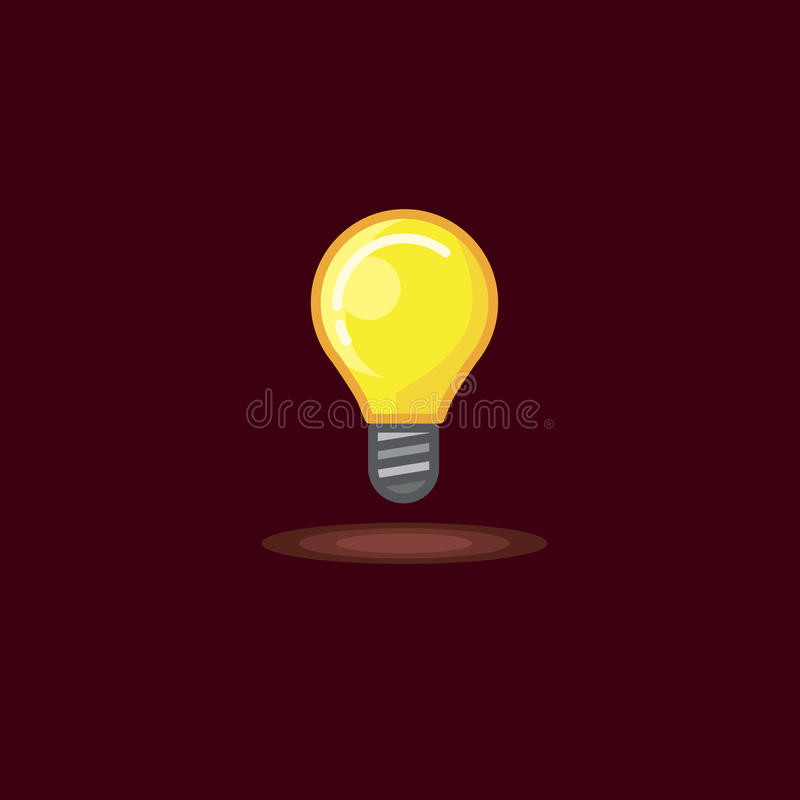Dirigez l'illustration d'une lampe à incandescence rougeoyante, ampoule allumée sur le fond foncé illustration stock
