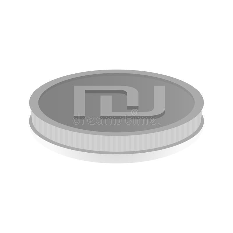 Dirigez l'illustration d'une pièce en argent avec le symbole du shekel illustration libre de droits