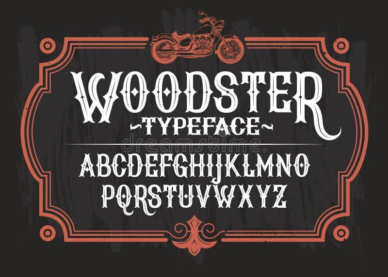 Dirigez l'illustration d'une police de vintage, l'alphabet latin dans un rétro cadre avec une moto faite sur commande illustration stock
