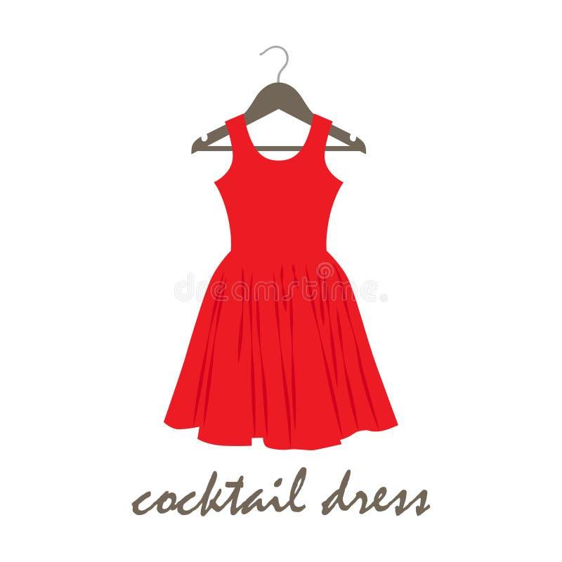 Dirigez l'illustration d'une robe de cocktail sur le cintre illustration libre de droits
