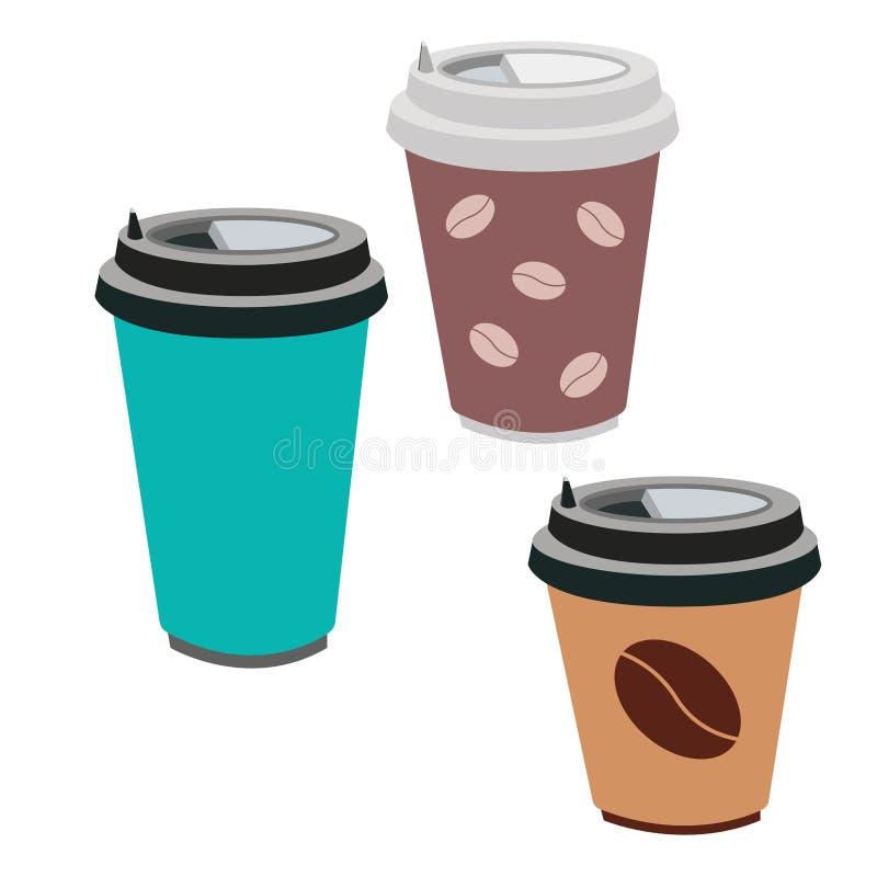 Dirigez l'illustration d'une tasse de café d'isolement sur le fond blanc illustration de vecteur