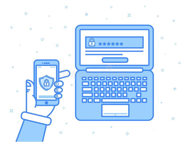 Dirigez l'illustration dans le style linéaire d'ensemble plat de couleurs de bleu Authentification multi de facteur, contrôle d'a illustration stock