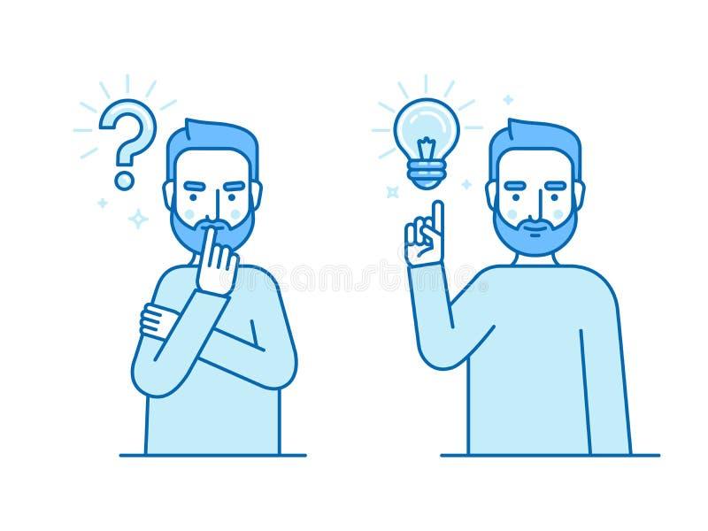 Dirigez l'illustration dans le style linéaire plat et les couleurs bleues - probl illustration libre de droits