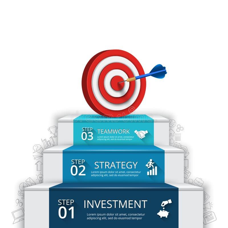 Dirigez l'illustration de 3 étapes au succès avec la cible et le dard illustration libre de droits