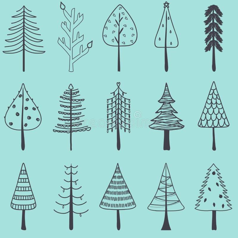 Dirigez l'illustration de l'arbre de Noël tiré par la main simple, ensemble de illustration libre de droits