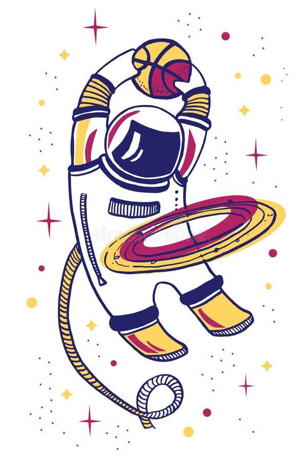 Dirigez l'illustration de bande dessinée avec l'asronaut jouant le basket-ball dans l'espace avec l'anneau de planète illustration de vecteur