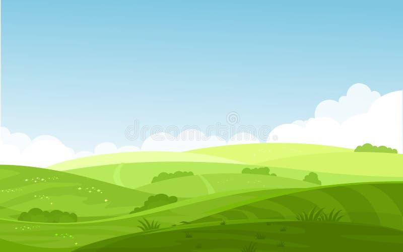 Dirigez l'illustration de beaux champs aménagent en parc avec une aube, collines vertes, le ciel bleu de couleur lumineuse, fond  illustration de vecteur