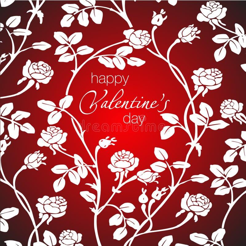 Dirigez l'illustration de belles roses blanches et de salutation heureuse de jour du ` s de Valentine illustration libre de droits