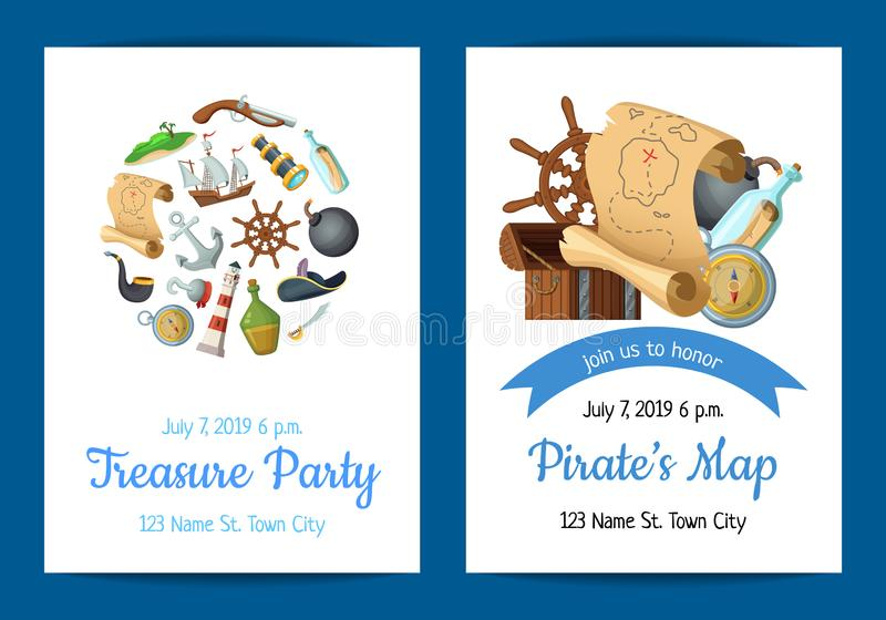 Dirigez l'illustration de calibre d'invitation de fête d'anniversaire de pirates de mer de bande dessinée illustration stock