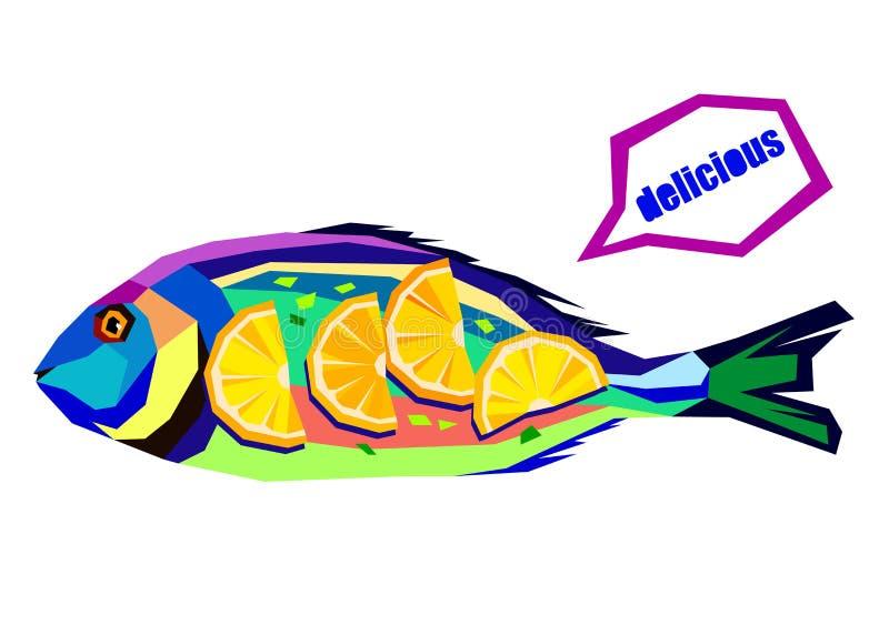 Dirigez l'illustration de composition avec des poissons faisant cuire le preparati illustration libre de droits
