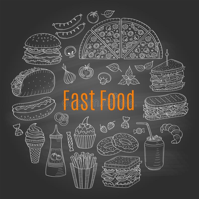 Dirigez l'illustration de croquis de la circulaire d'aliments de préparation rapide formée illustration libre de droits