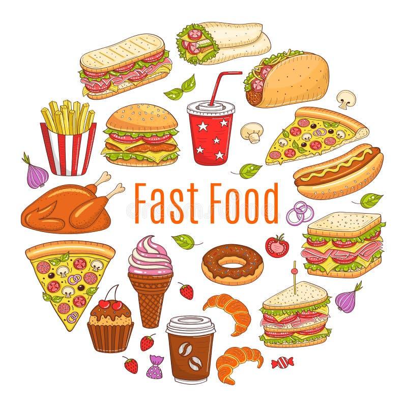 Dirigez l'illustration de croquis de la circulaire d'aliments de préparation rapide formée illustration de vecteur