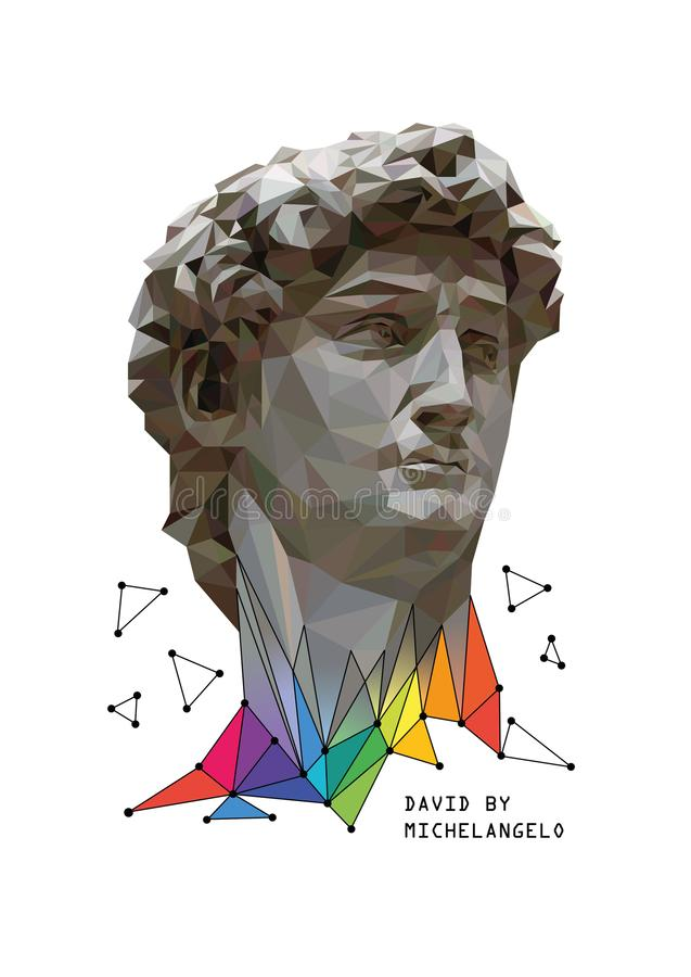 Dirigez l'illustration de David par Michaël Angelo avec les éléments colorés Fond blanc illustration libre de droits