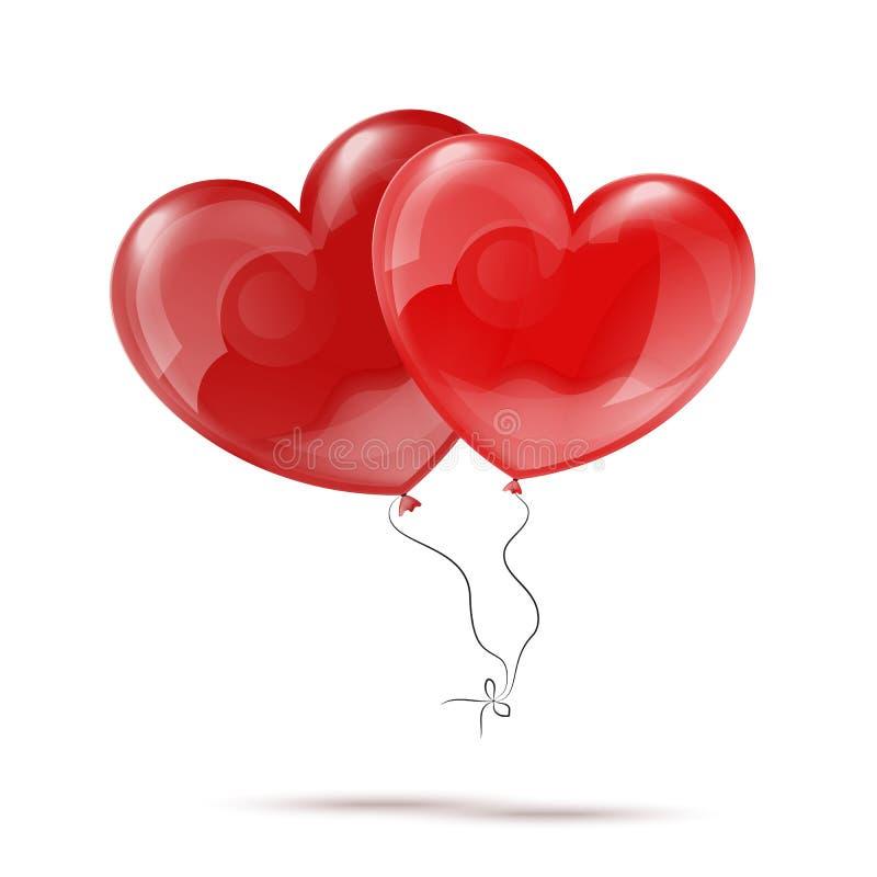 Dirigez l'illustration de deux ballons rouges du coeur 3d illustration de vecteur