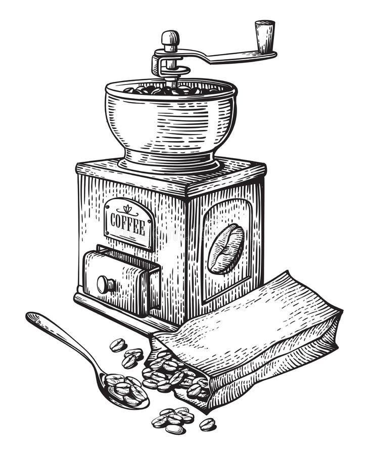 Dirigez l'illustration de l'emballage de collection de haricots de broyeur de café illustration libre de droits