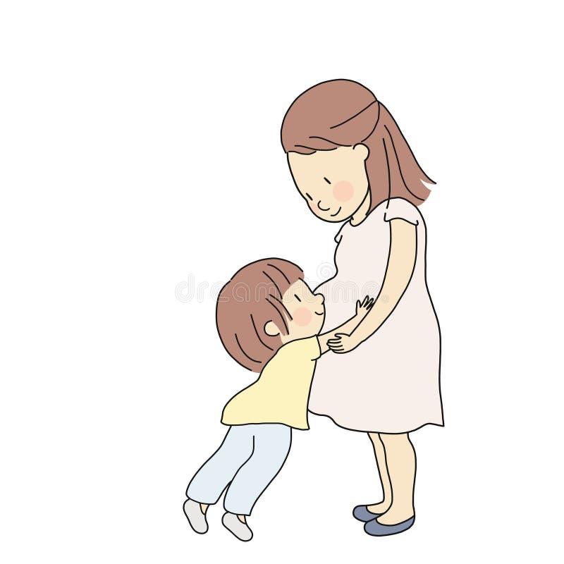 Dirigez l'illustration de l'enfant touchant, étreignant et sentant le nouveau bébé dans le ventre enceinte de maman Le parent dis illustration stock