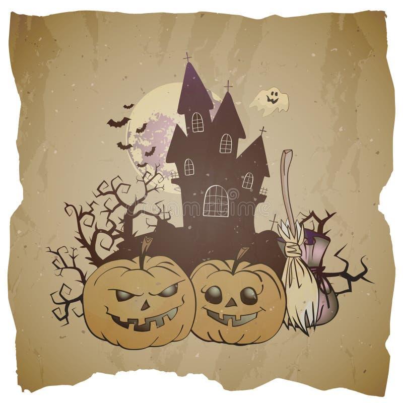 Dirigez l'illustration de Halloween avec grimacer les potirons, le balai et le château sinistre illustration libre de droits