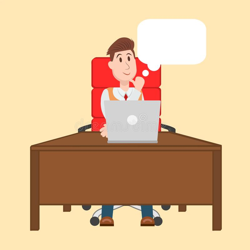 Dirigez l'illustration de l'homme travaillant sur l'ordinateur, se reposant à t illustration stock